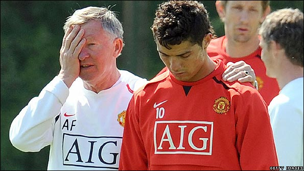 Man Utd boss Sir Alex Ferguson and Cristiano Ronaldo