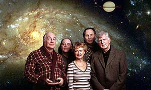 Simon Jones, Geoffrey McGivern, Susan Sheridan, Mark Wing-Davey and Stephen Moore star in The Hitchhiker's Guide To The Galaxy. © Above The Title
