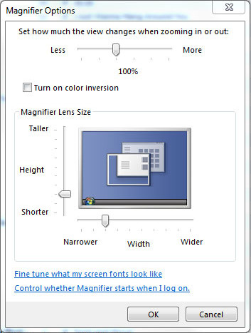 'Magnifier Options' window in lens mode