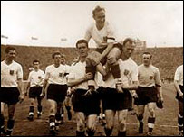 Billy Wright after winning his 100th England cap