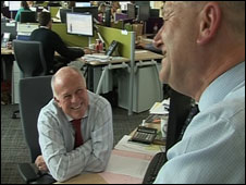 Peter Hargreaves and Steve Lansdown in their new office