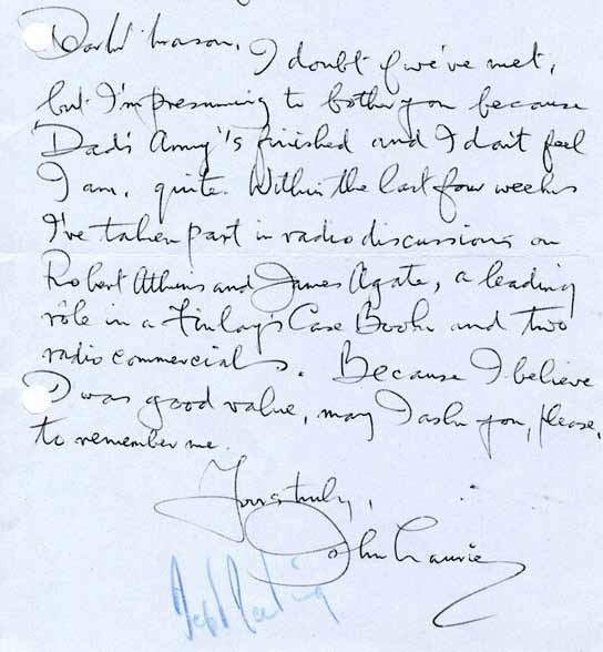 Letter from John Laurie
