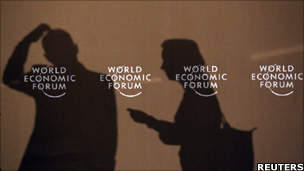 Shadows of participants of the World Economic Forum