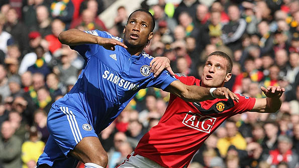 Didier Drogba playing against Manchester United in April 2010