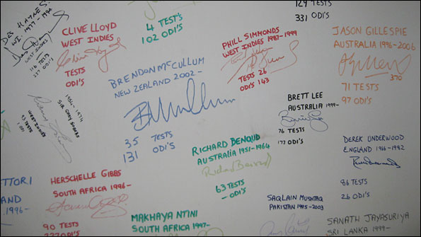 The white wall that contains signatures of many former international cricketers