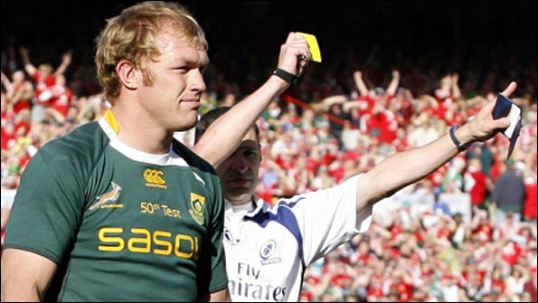 Schalk Burger is yellow carded in the second Test
