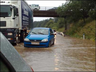 Flooding on the M50 motorway by Nick Sturdy