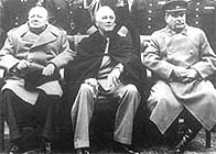 Photograph showing Winston Churchill, Roosevelt and Stalin sitting together