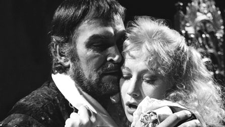 Black and white image of Stanley Baker with Helen Mirren in 1974 BBC production The Changeling