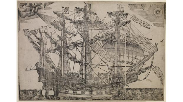Print of a four-masted ship at sea, about 1587. Copyright Trustees of the British Museum