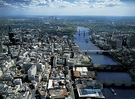 Aerial view of River Thames and City of London