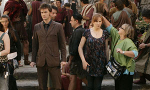Behind the scenes: David Tennant as the Doctor and Catherine Tate as Donna filming Doctor Who in Rome