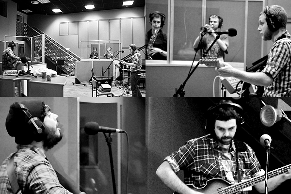 Wooden Box and a Fistful of Fivers rehearsing in Studio 1, BBC Scotland for Another Country