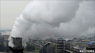 Factory with smoke in China