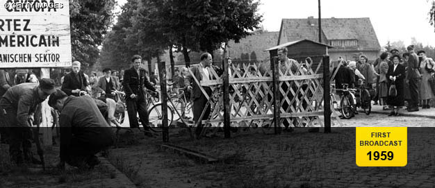 A barricade in 1953 that later became part of the Berlin Wall.