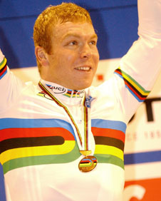 Chris Hoy in the World Champion's rainbow jersey (Image copyright: British Cycling)