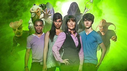 Background L-R Androvax, Shansheeth, Dark Hoard and the Graske. Foreground L-R Clyde (Daniel Anthony), Rani (Anjli Mohindra), Sarah Jane (Elisabeth Sladen) and Luke (Tommy Knight)