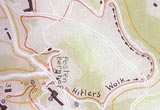 Foxley Report map which traces Hitler's walk from the Berghof to the Teahaus.