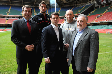 Roger Lewis, Wales international Luke Charteris, Owen Sheers, Wales forwards coach Robin McBryde and Dai Smith. Photo: Huw Evans Picture Agency