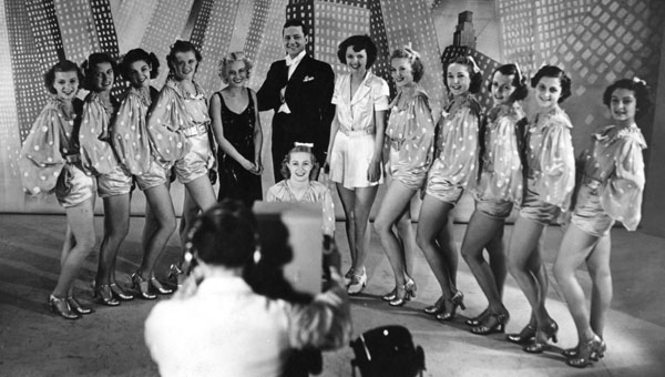 A line of chorus girls on BBC television
