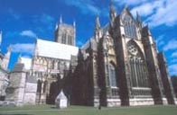Photograph showing Lincoln Cathedral built in the Middle Ages
