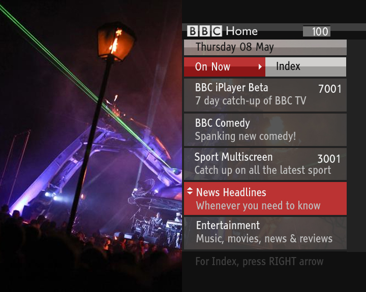 BBC Red Button Connected Homepage: On Now