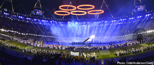 Opening ceremony - London 2012 - olympic rings forged above the stadium