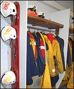 Changing room at Whitby lifeboat station