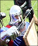 View from Graham Field's 'HelmCam' mid-battle at the Tewkesbury Medieval Festival