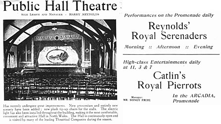 Newspaper advert showing Theatr Colwyn's revamped auditorium with cinema and programme information, dated 1909