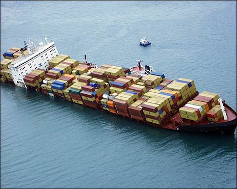 An aerial view of the MSC Napoli and her cargo