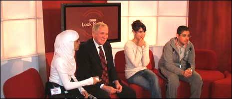 Laisterdyke students with presenter Harry Gration