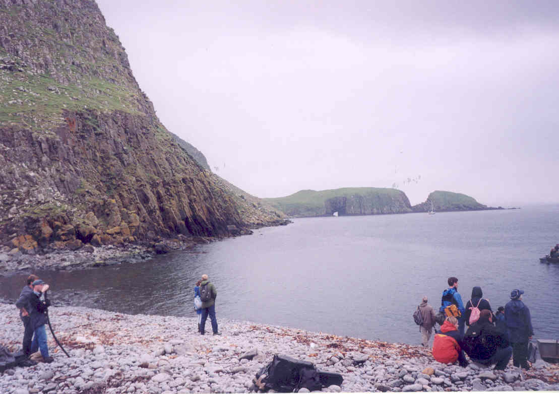 The embarkation, overlooked by Eilean Garbh (left)