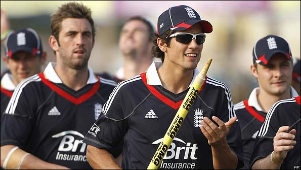 Alastair Cook celebrates England's win