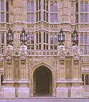 Image of the Gothic entrance to the Palace of Westminster