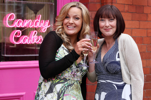 Jo Joyner as Jackie and Lisa Millett as Elaine in Candy Cabs