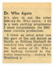 A letter from the Radio Times about William Hartnell.
