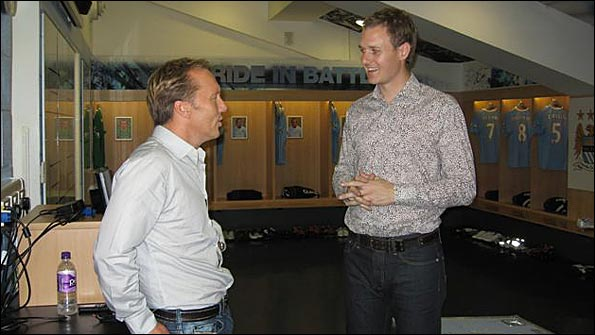 Lee Dixon and Dan Walker inside the Man City dressing room