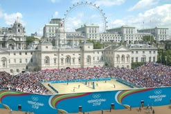 Computer-generated image of beach volleyball taking place at Horse Guard's Parade in the heart of London's Whitehall. Credit: London 2012