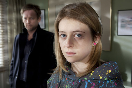 Amelia, played by Genevieve Barr, stands by Jim, played by Douglas Henshall