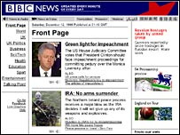 A graphic of the BBC News website in 1998