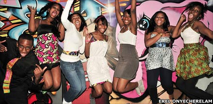 Image by Erel Onyecherelam of Set Fashion Free: Girls jumping in the air for joy