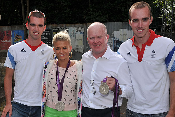Richard and Peter Chambers with Danielle Harold and Steve McFadden