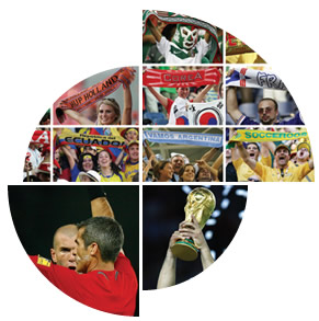 Photo montage: football supporters with scarves; Jules Rimet Cup; referee and Zinedine Zidane