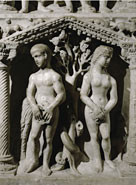 Early Christian sculpture, fourth century, Adam and Eve.