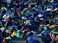 A sea of tents at the festival