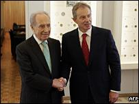 Tony Blair meets Israeli PM Shimon Peres