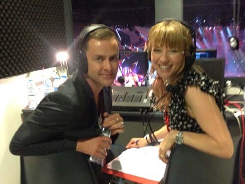 Scott Mills and Sara Cox in the UK commentary box