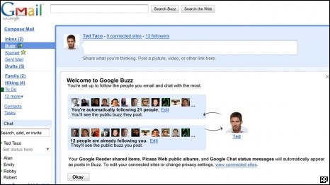 A screen shot of Google Buzz provided by Google