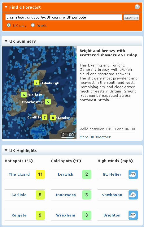 Screenshot of Find a Forecast web page